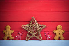 Christmas star reindeer and gingerbread man background Stock Photo
