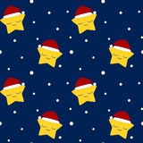 Christmas star with santa's hat in the snow night seamless pattern Royalty Free Stock Image