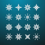 Christmas Star Set on Blue Background Royalty Free Stock Photos