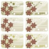 Christmas star shaped gingerbread gift label set Stock Photos
