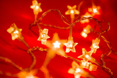 Christmas star-shaped lights Stock Images