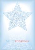Christmas star silhouette of snow flakes Stock Photos