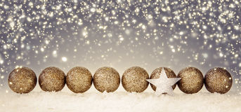 Christmas star and silver balls. stock photo