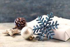 Christmas star and silver bauble. Christmas decoration. Christmas time. royalty free stock photo