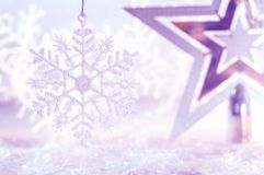 Christmas star silver purple and white snowflake . Christmas and new year background. Christmas star silver purple and white snowflake . Christmas and new year royalty free stock photography