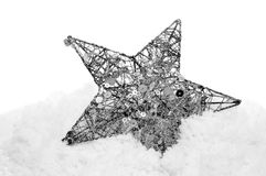 Christmas star on the snow Royalty Free Stock Photos