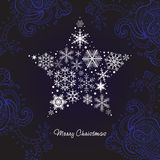 Christmas star of the Snowflakes. Vector background Royalty Free Stock Images