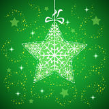 Christmas star with snowflakes green. royalty free stock photos