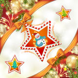 Christmas star with snowman Stock Photography