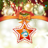 Christmas star with snowman Royalty Free Stock Photos