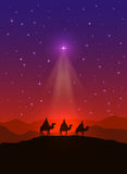 Christmas star and three wise men. Christian background with Christmas star and three wise men, illustration Royalty Free Stock Images
