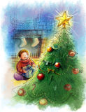 Christmas star on the tree with kid unpack gift. The illustration showing Christmas day a boy unpacking his christmas box. Sitting next to the fireplace and Stock Images