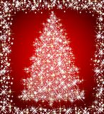 Christmas star tree on red background Stock Image
