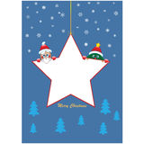 Christmas star with tree and santa Royalty Free Stock Photos