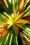 Christmas Star on Tree Zoom Motion Action Close and Colorful Celebration stock photo
