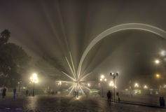 Christmas star in Verona, Italy, and fog at night Royalty Free Stock Photography