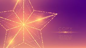 Christmas Star wireframe polygon bokeh light frame structure and lens flare, Technology connection concept design illustration iso. Lated on purple gradient royalty free illustration