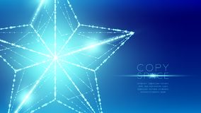 Christmas Star wireframe polygon bokeh light frame structure and. Lens flare, Technology connection concept design illustration isolated on blue gradient vector illustration