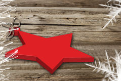 Christmas  star on wood background Royalty Free Stock Photo