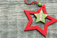 Christmas star on wooden plank Stock Image