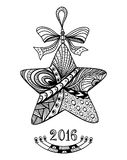 Christmas Star in Zen-doodle style black on white. Christmas Star  in Zen-doodle style black on white coloring page for coloring book or creative Post Card or Royalty Free Stock Images