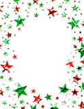 Christmas Stars. A star field of green and red stars with a clipping path Royalty Free Stock Photos