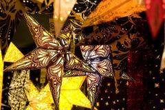 Christmas Stars. A group of illuminated Christmas Stars Stock Photos