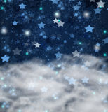 Christmas stars on blue   background Stock Photos