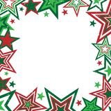 Christmas Stars Border. Red and green Christmas stars border on white background with space for text Stock Photo