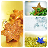 Christmas stars collage Stock Photos