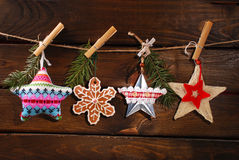 Christmas stars collection hanging on twine Stock Photo