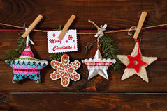 Christmas stars collection hanging on twine Royalty Free Stock Images