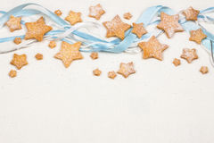 Christmas stars cookies with powder sugar Royalty Free Stock Image