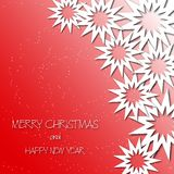 Christmas stars cut the paper. Falling snow. Red gradient background. New Year. Greeting card, invitation. Eps 10 Stock Image