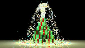 Christmas stars explosion for a special party. Exiting Christmas stars from a tree-shaped gift box for a special party. 3d graphics Royalty Free Stock Image