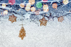 Christmas stars with gingerbread cookies hanging on bare branche Royalty Free Stock Photography