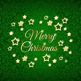 Christmas stars on the green background Royalty Free Stock Image