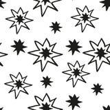 Christmas stars hand draw monochrome seamless pattern Stock Photos