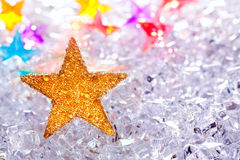 Christmas stars in ice  background Stock Photography