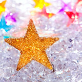 Christmas stars in ice  background Royalty Free Stock Image