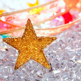 Christmas stars in ice  background Stock Photos