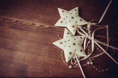 Christmas stars. New year background with decor stars and wings Stock Image