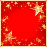Christmas stars red background wallpaper. Layout banner xmas bokeh border decoration santa merry clausnwintern Royalty Free Stock Images