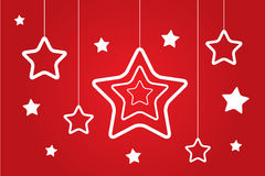 Christmas stars set isolated on red. Monochrome illustration of Christmas globes set isolated on red Stock Photo
