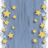 Christmas stars on snowy wood background. Gold bevelled stars on a snowy wood background royalty free illustration
