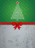Christmas Stars Tree Red Ribbon Oblong Concrete Royalty Free Stock Photos