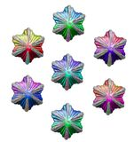 Christmas stars of various colours. Isolated on white Stock Photos