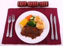 Christmas Steak dinner Stock Images