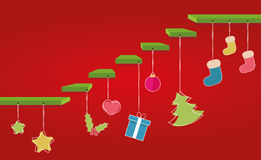 Christmas steps. Christmas vector steps with decoration Royalty Free Stock Photography