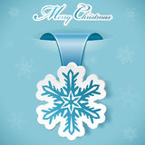 Christmas sticker. With snowflake, vector illustration Royalty Free Stock Photos